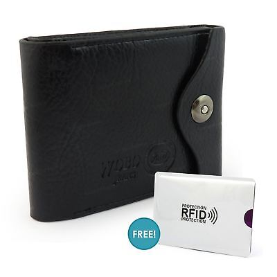 Mens Genuine Soft Quality Leather Wallet Credit Card Holder Purse RFID Sleeve UK