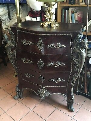 Antique Bomb Shaped Chest Of Drawers, With Decorative Bronze Adornments