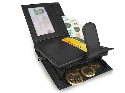RFID NFC BLOCKING Leather Mens Mans Wallet Zipped Zip Notes & Coins Wallets R180