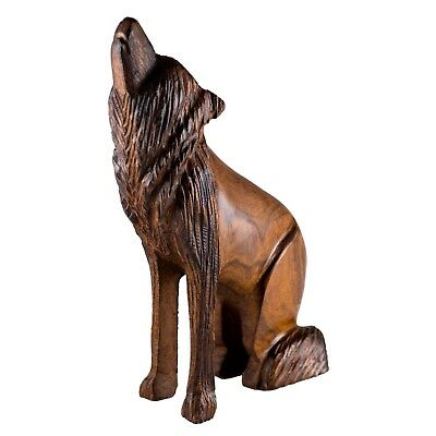 "Hand Carved Wood Wooden Ironwood Sitting Wolf Howling Figurine 6.75"" High"