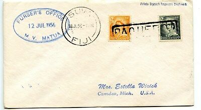PAQUEBOT=SUVA,FIJI-CDS Cxl on 1d & 1/2d New Zealand Stamps-Cover-1956