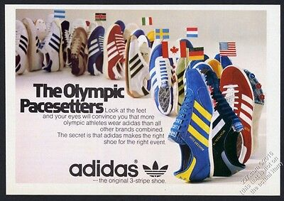 1976 Adidas Adistar 2000 Montreal 76 green stripe shoes photo vintage print ad