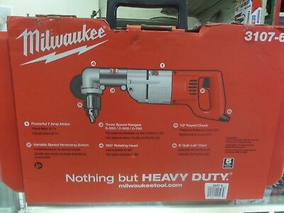 Milwaukee 3107-6,  7 Amp 1/2  in. Corded Heavy Right-Angle Drill Kit