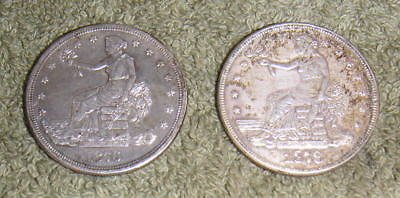 2 United States 1876-S & 1878-S Chinese Trade Dollar Copy Coins Reproductions