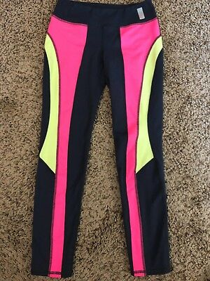 Girl's 'Zella Girl' gray/pink/green leggings sz. L (10-12) run dance cheer GUC