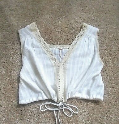 Free People white ivory gauze cotton lace crop cropped top S small India boho