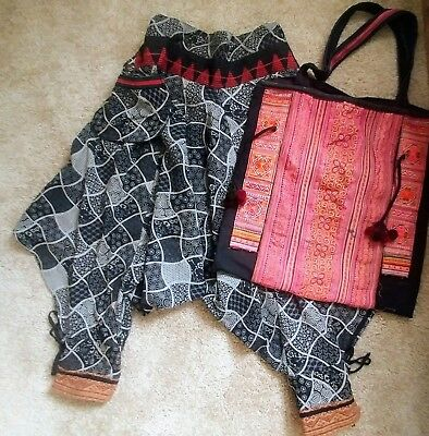 Thai Thailand ethnic batik fisherman pants w/woven textile tribal tote bag boho