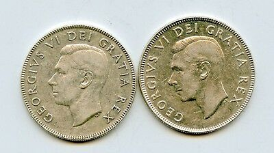 CANADA 1950 & 1951 SILVER FIFTY CENTS ~ XF & AU~ HIGH GRADE   *hucky*