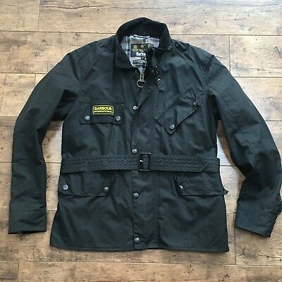 Men's Barbour International Black Trials Wax Belted Jacket Size Large