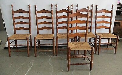 6 Vintage Ladder Back Chairs W/ Rope Seats Solid Wood Chairs Side Chairs