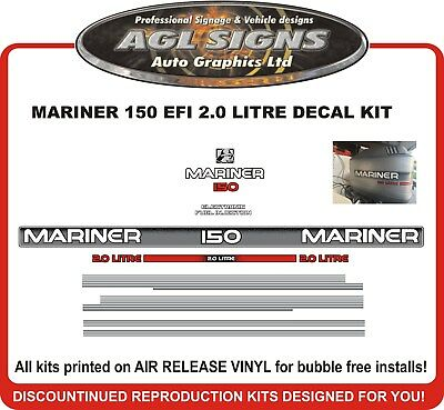 Late 90's Mercury Mariner 150 hp 2.0 Litre Outboard Decal Kit  reproductions