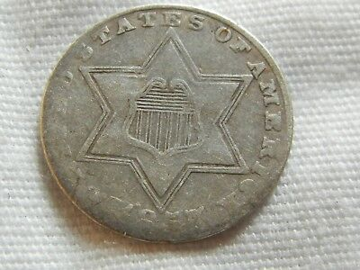 1857 us silver three cent piece old us coin