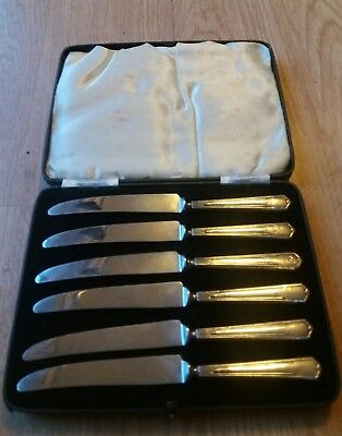 Super Art Deco Set of Six Sterling Silver Handled Butter Knives. Art Deco Silver