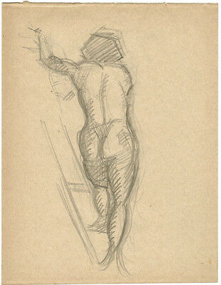 1914 Page from the school album of RUSSIAN ARTIST M.A.Markov NUDE MALE #4