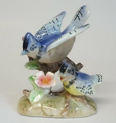 Vintage Bluejay Mama Baby Bird Figurine Porcelain Ceramic Raised Applied Flower