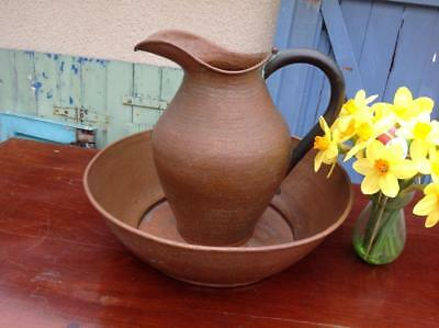 Antique French Hammered Copper Wash Bowl & Jug Superb Quality C1880 Rustic Chic