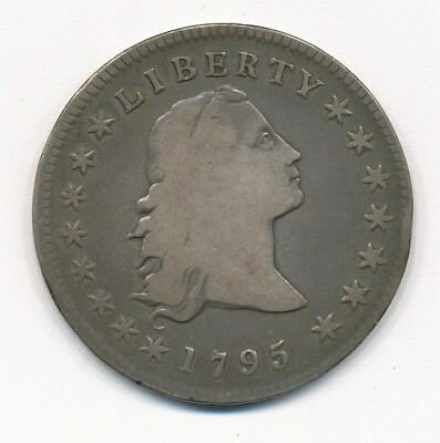 1795 Flowing Hair Silver Dollar Three Leaves