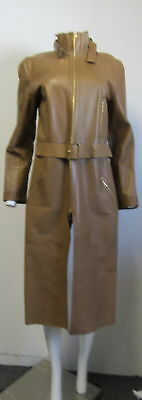 Vintage GUCCI womens long leather jacket brown trench coat long overcoat SZ 48/L