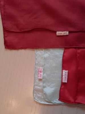 3 Vintage 1960's Chinese 100% Pure Silk Hand Rolled Handkerchief Red Green