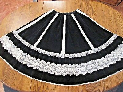 Vintage 60s 70s MEXICAN Western CIRCLE SKIRT ROCKABILLY lace FULL dress OS