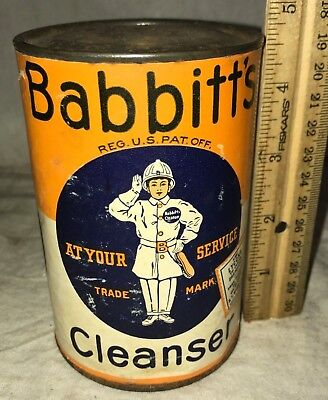 Antique Unopened Babbitt's Cleanser Tin Vintage Can Scouring Powder Soap Cleaner