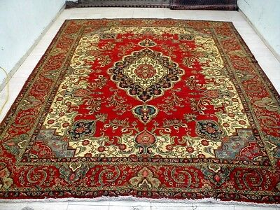 10X13 1940's GORGEOUS AUTHENTIC HAND KNOTTED 70+YRS ANTQ WOOL TABRIZ PERSIAN RUG