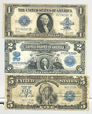 $1 1923, $2 and $5 (Chief Onepapa) Series 1899 Silver Certificates nice looking