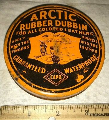 Antique Arctic Rubber Dubbin Boot Shoe Leather Waterproof Tin Litho Polish Can