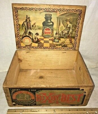Antique Bixby Best Wood Country Store Shoe Polish Display Box Victorian Clothing