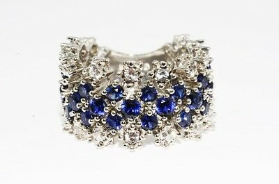 4.00Ct Blue Sapphire & White Topaz Flexible Cluster Silver Ring Size 8.25