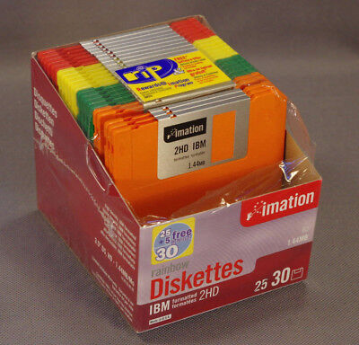 "Imation Color 3.5"" Floppy Disks, IBM, 2HD 1.44MB, Open Pack of 22 Twenty-Two"