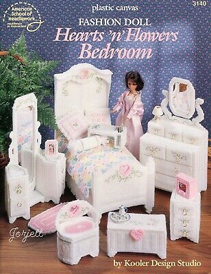 Hearts 'n' Flowers Bedroom ~ fits Barbie dolls, plastic canvas pattern booklet