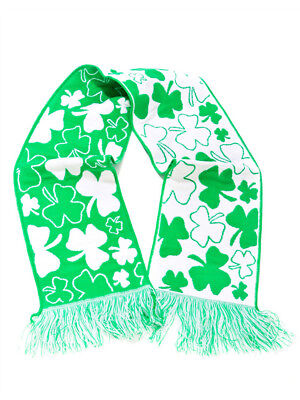 St. Patrick's Day Green and White Irish Shamrock Acrylic Winter Scarf