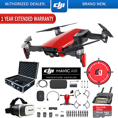 DJI Mavic Air Fly More Combo Flame Red Drone Deluxe Fly With Warranty Extension