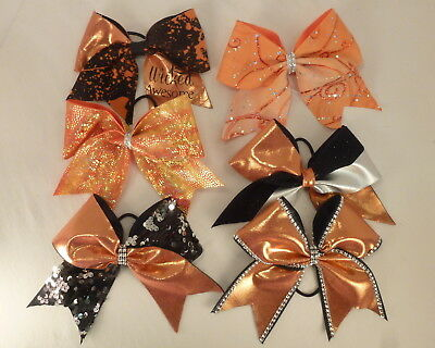 Cheerleading Cheer Bows Large Orange LOT of 6