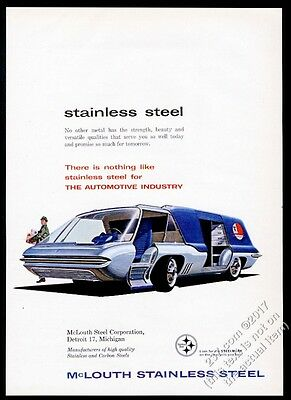 1960 streamlined future delivery truck art McLouth Steel vintage print ad