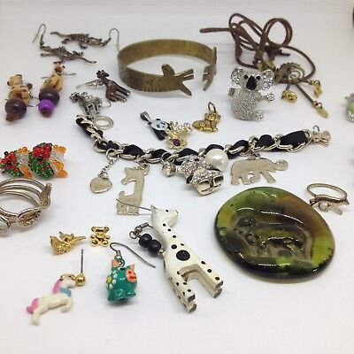 Vintage Lot of 22 MIXED ANIMAL COSTUME JEWELRY Rhinestone Enamel Sterling Avon