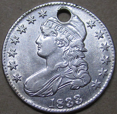1833 Capped Bust Half Dollar, Lustrous & Attractive even Holed,About Unc Details