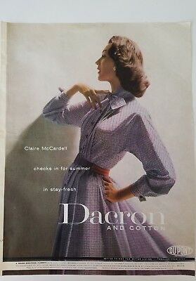 1956 women's checked dress Claire McCardell Dacron and cotton fashion ad