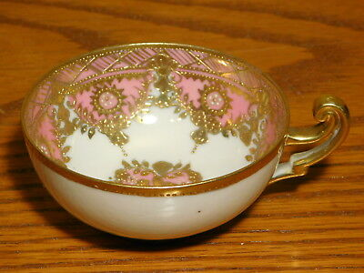 Antique Hand Painted Nippon BLUE MARK Pink & Gold Teacup