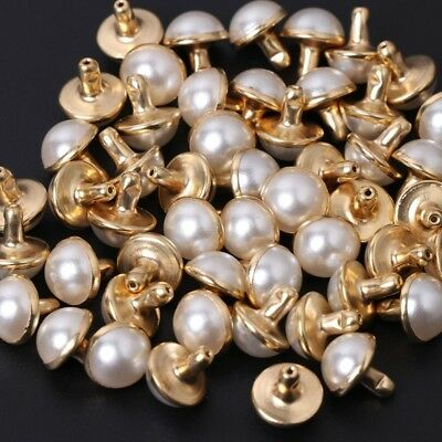100x Imitation Pearls With Rivets Studs Leather Bag Shoes Clothes DIY Decor