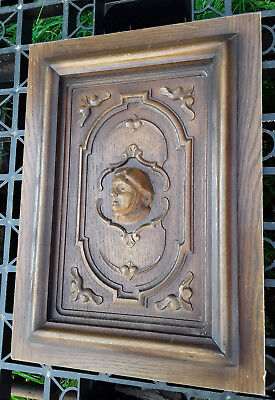 Antique French Wood Carved Panel Door With Portrait In Big Relief N°1