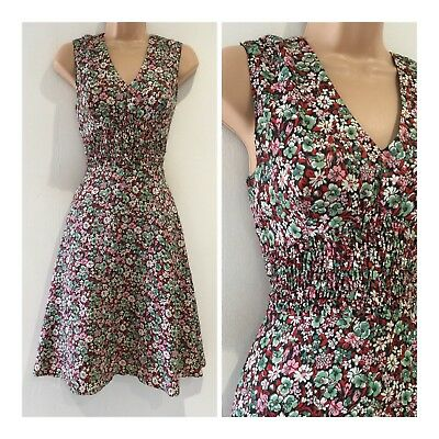 Vintage 70's Black Green White & Pink Ditsy Floral Shirred Waist Day Dress 6-8