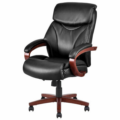 Ergonomic Office Chair Deluxe Pu Pvc Leather High Back Desk Task Computer Black