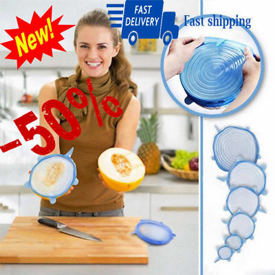 6pcs Universal Silicone Stretch Suction Pot Lids Kitchen Cover Cooking Stopper