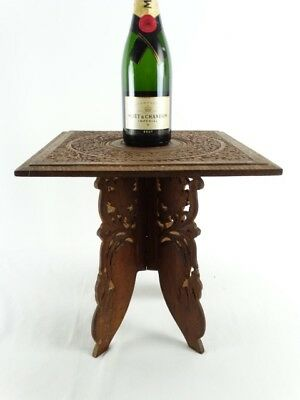 Vintage Indian hand Carved Teak Side Table Etched Taj Mahal on Stand India c1960