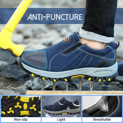 AtreGo Men Safety Steel Toe Slip On Indestructible Casual Hiking Climbing Shoes