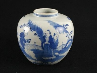 Rare Antique Chinese Hand Painted Blue & White Pot China Qing Dynasty