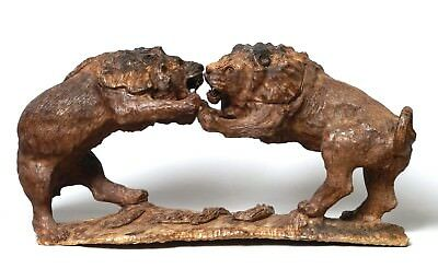 Beautiful Quality Large Antique 19Thc Carved Wood Lion Group Prob. Black Forest