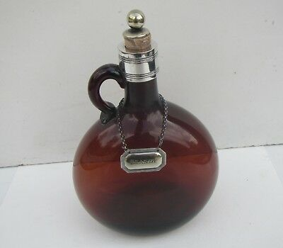 Old Brown Glass Brandy Bottle with Silver Plated Decanter Label